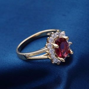 18 Carat Rose Gold Plated Cranberry Ring